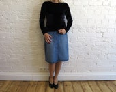 Blue Denim Skirt Knee Pencil Skirt Denim Pencil Skirt Medium to Large Size