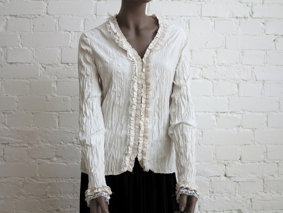 Light Beige Crinkled Blouse Buttons Down Womens Bl