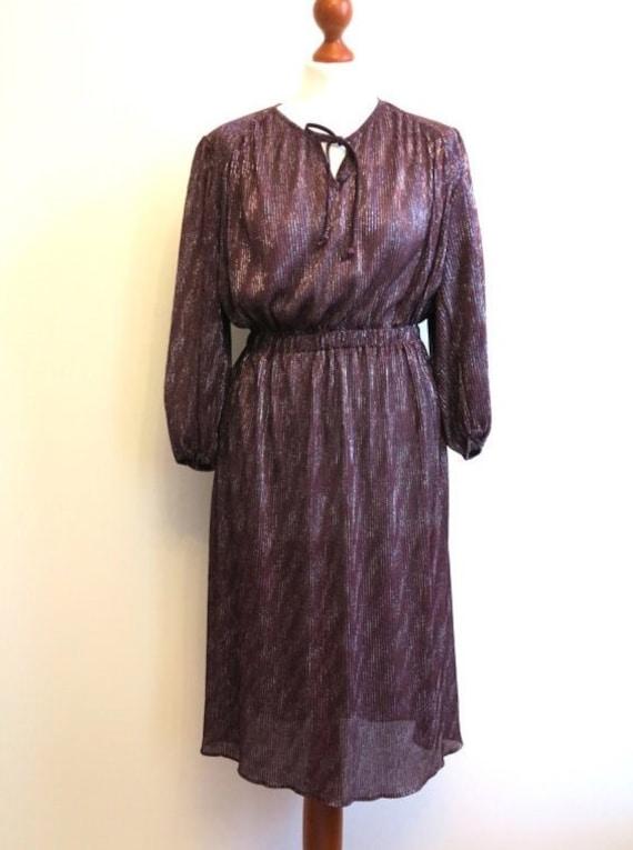 Vintage 1970s Wine Red Burgundy Dress Metallic Kne