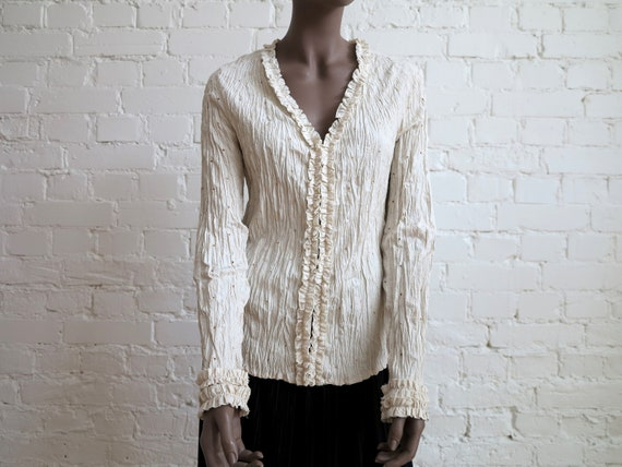 Light Beige Crinkled Stretchy Blouse Buttons Down
