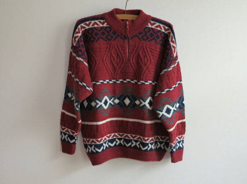 Wine Red Knitted Mens Sweater Wool Alpaca Warm Winter Pullover Top Jumper Italian Classics Large to Extra Large Size