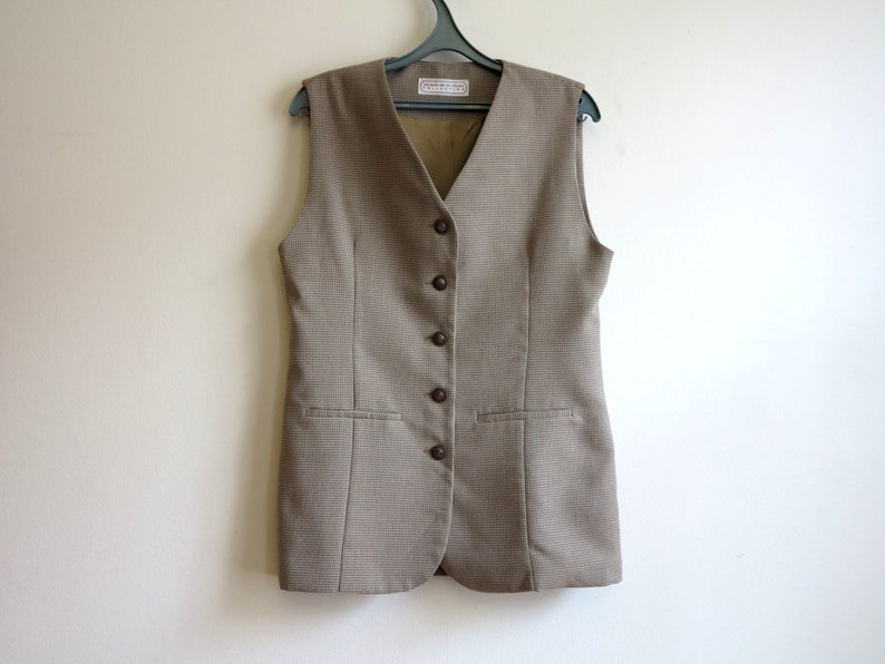 7f7163f3a045b Light Brown Womens Vest Houndstooth Vest Steampunk Vest Formal Ladies Vest  Womens Long Waistcoat Fitted Vest Medium to Large Size