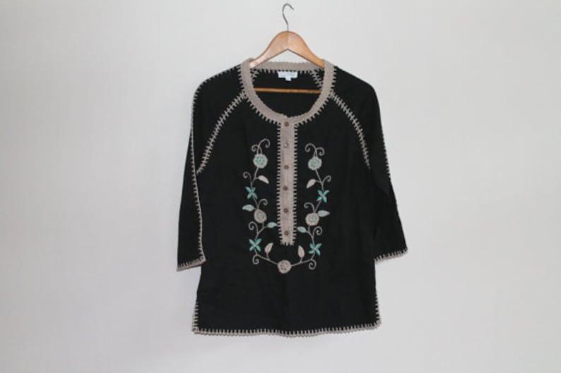 Black Floral Blouse Embroidery Top Womens Blouse Cotton Shirt