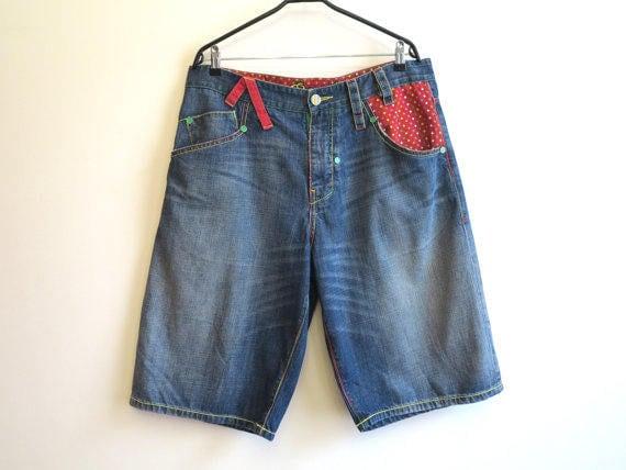 Light Blue Denim Shorts Mens Grunge Shorts Hipster Club Kid Punk Shorts Size 4X CubekHjZ