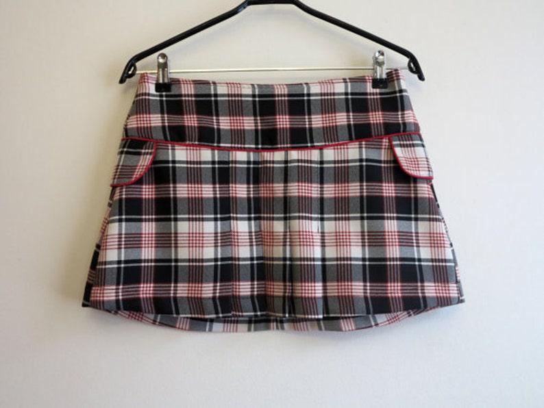 701290710 Black White Red Grey Skirt Tartan Plaid Skirt Mini Skirt   Etsy
