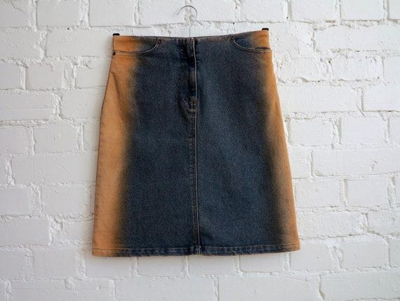 Blue Denim Skirt Brown Colored Sides Denim Skirt K