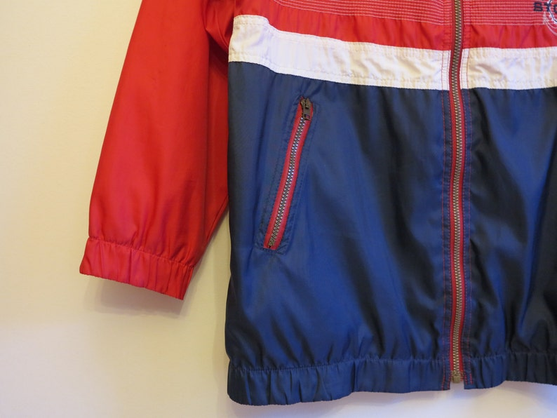 Vintage Windbreaker Colorblock Navy Red White Jacket Hipster Jacket Mens Marine Windbreaker Lightweight Parka Sport Jacket Large Size