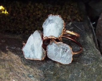 Bergkristallring, Raw Rock Crystal, Verlobungsring, Kupferring, Boho ring, Crystal Ring, Raw Crystal ring, Electroformed, Rock crystal ring