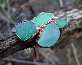 Sea glass ring, sea glass ring, glass ring, seaglass, statement ring, seaglass ring, seaglass jewelry, copper ring, electroformed, rustic, boho
