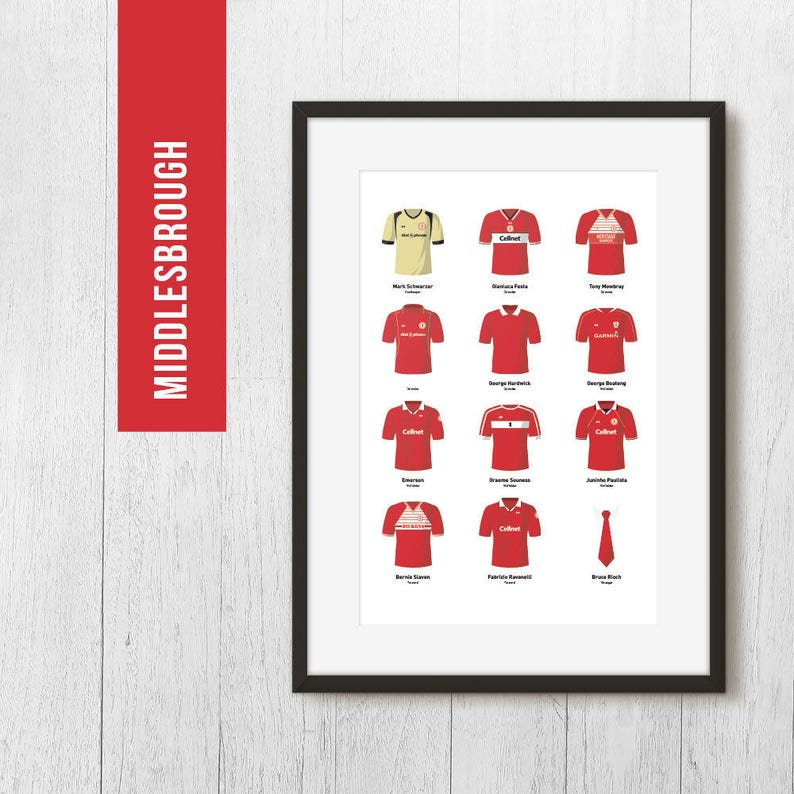 PERSONALISED Middlesbrough Print Football Poster Football image 0