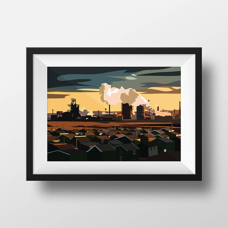 Industrial Teesside Digital Art Landscape Illustration Print image 0