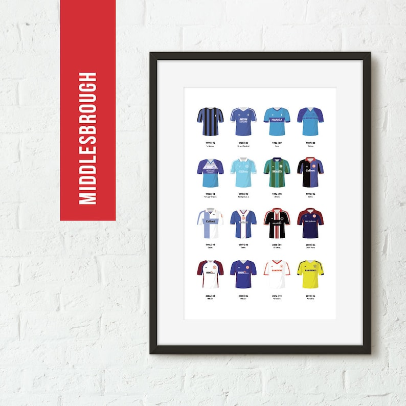 ICONIC Middlesbrough Classic Away Kits Print Football Poster image 0