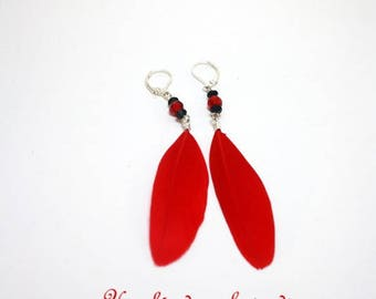 Red bird of paradise feather clips or pierced earrings