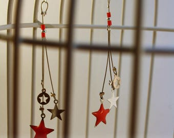 Cosmos coral and Silver Star earrings