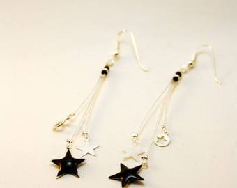 Cosmos black and Silver Star earrings