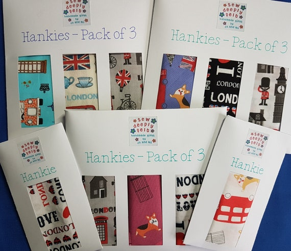 London Hankies | Pocket Square  | Pack of 3 or Individual