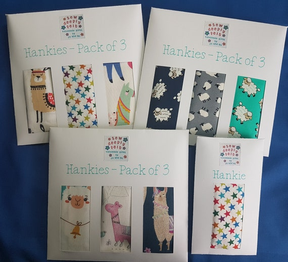 Llama & Sheep Hankies | Pack of 3 or Individual