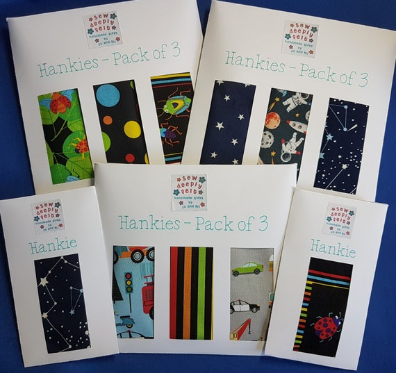 Children's Hankies | Bugs, Space, Vehicles | Pack of 3 or Individual