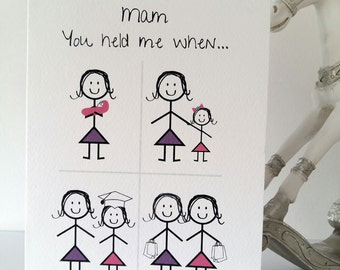 Happy Birthday Mam Or Mum From Daughter Card Mother Girl Mom Variation Handmade Ireland