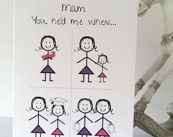 Happy Birthday Mam Or Mum From Daughter Card Mother Variation Girl Mom Handmade Ireland