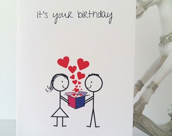 Birthday Greeting Card Unisex Boyfriend To Girlfriend Love Happy Handmade