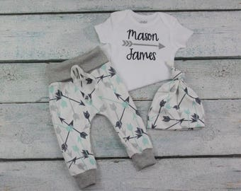 a72628db7c8d0 baby boy coming home outfit/personalized newborn outfit/take home  set/organic cotton