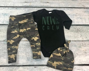 2be7290583402 baby boy coming home outfit/ boy camo set/new to the crew outfit for boy