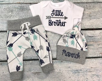 baby boy coming home outfit/personalized newborn outfit/take home set/organic cotton/little brother set