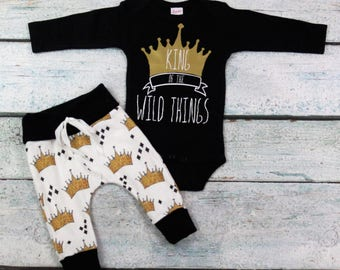 Where the wild things are baby/king of the  wild things are/i love you/coming home outfit/organic cotton