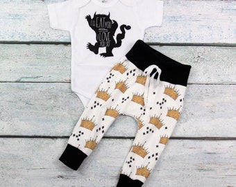 Where the wild things are// baby boy///boys leggings/gender neutral/I love you so much/I love you so much i'll eat you up/ onesie outfit