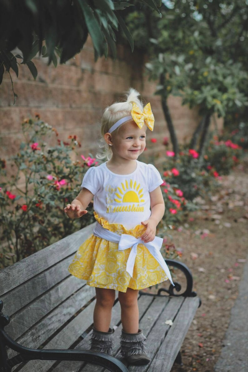 You are my sunshine outfitBaby girl outfit3 piece outfit yellow skirt twirl skirt baby skirt toddler birthday