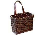 Custom Hanging Mail Storage Basket w Handle, Amish Hand Woven Basket, Handmade, Wicker Rattan