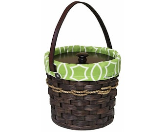 Amish Hand Woven Basket Handmade Wicker Rattan Round Small Custom Lunch Pail Picnic Basket w Carry Handle /& Lid