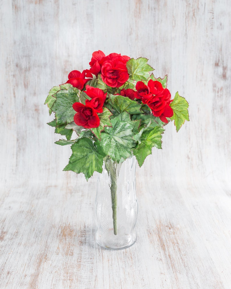 Faux Wedding Flowers Wedding Centerpieces Spring Deco Artificial Craft Floral Supplies 23612 pcs 16 Polyester Red Begonia Bush Bouquet