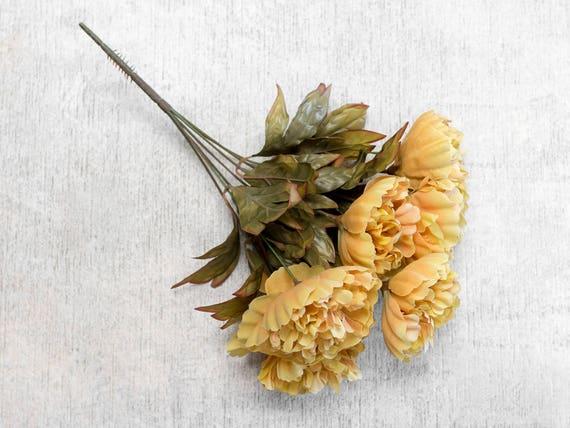 6 Flower Heads Faux Wedding Flowers Centerpieces 23612 pcs 16.5 Orange Gold Peony Peonies Bush Bouquet Artificial Florals Supplies