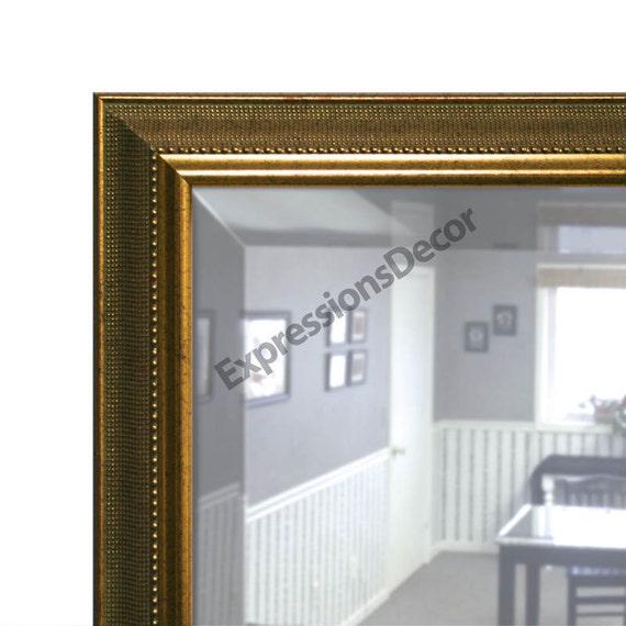 Custom Antique Beaded Gold Wall Mirror Beveled Glass Free Etsy
