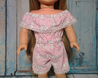 18 inch doll clothes, bunny romper, lace pull on romper, pull on doll clothing, birthday gift, girl doll gift, shorts romper, summer