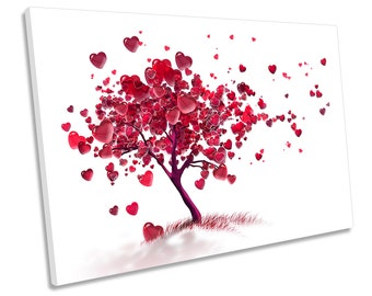 Wall PICTURE HEART WOOD FABRIC CANVAS PICTURE-XXL Images Art Print 104134P
