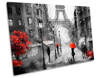 Multicoloured Umbrella rain yellow red Framed Abstract Canvas Print Wall Art 140