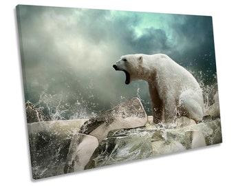 caeb5b499a2 Polar Bear Arctic Picture CANVAS WALL ART Print