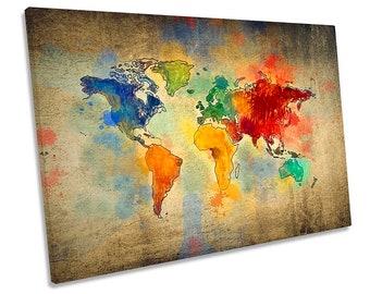 World map canvas etsy map world grunge multi colour framed single canvas print wall art gumiabroncs Choice Image