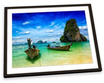 La Thaïlande Plage Krabi BOATS Encadré Art Imprimé Photo Affiche Artwork