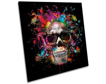 Skull Urban Graffiti Picture CANVAS WALL ART Square Print
