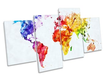Map of the World Colourful Print CANVAS WALL ART Multi Panel Picture
