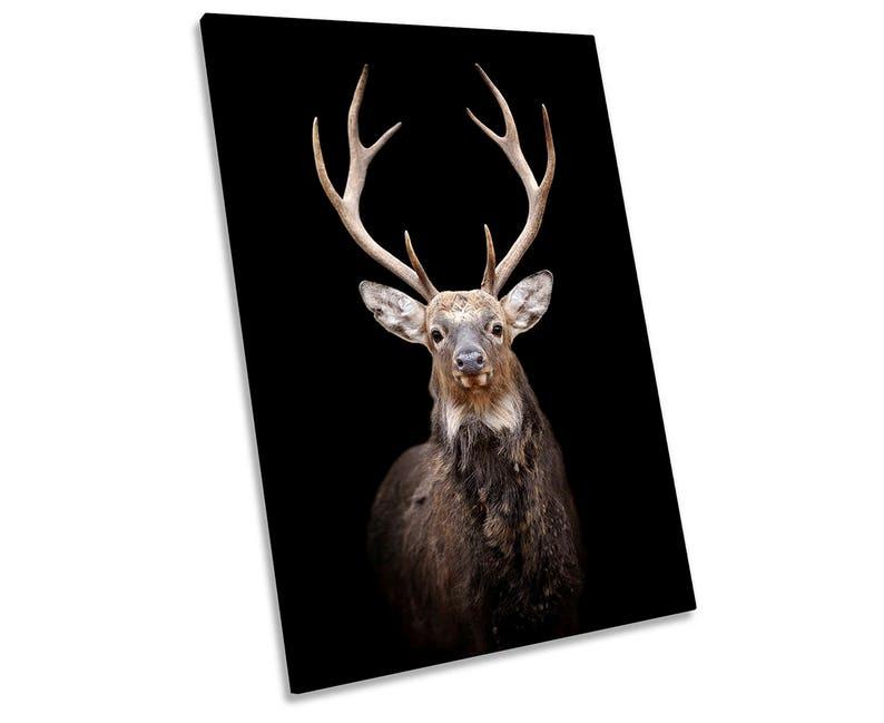 Stag Deer Head Framed CANVAS WALL ART Portrait Print