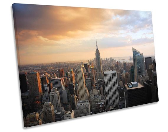 HANDMADE *Various Sizes* NEW YORK CITY SKYLINE CITYSCAPE Box Canvas Wall Art