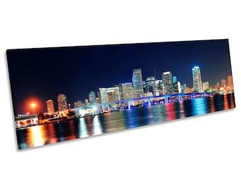 Miami Night Skyline Florida Print CANVAS WALL ART Panoramic Picture