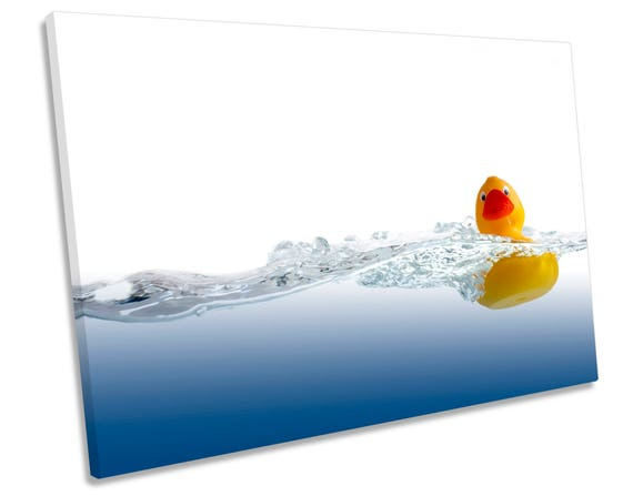Rubber Duck Bathroom SQUARE CANVAS WALL ART Boxed Framed
