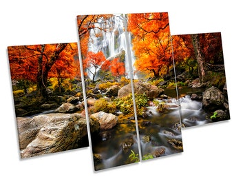 Orange Waterfall Forest Picture CANVAS WALL ART Four Panel