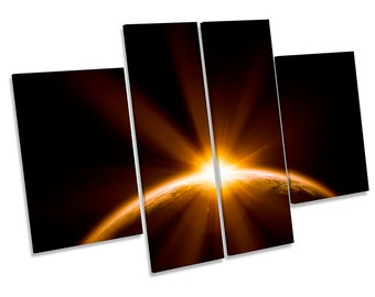 Planet Earth Sunset Astronomy Picture CANVAS WALL ART Four Panel